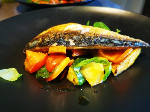 Featured image for The Devonshire at home – Mackerel with a warm tomato & wild garlic salad