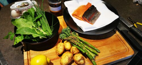 Featured image for Chatsworth Farm Shop – Trout Fillet with Jersey Royal and Spring Green Salad