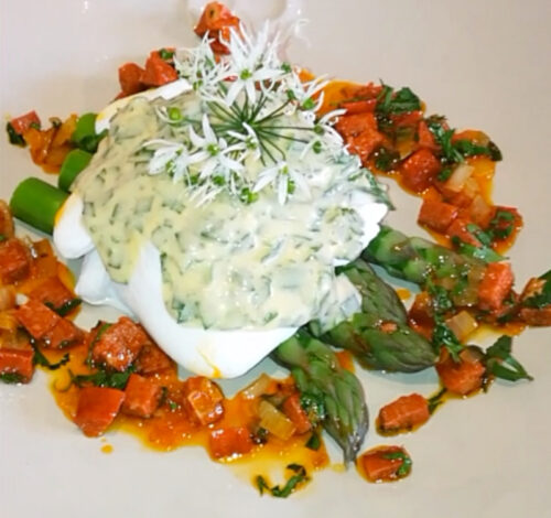 Featured image for The Devonshire at home – Yorkshire asparagus, wild garlic hollandaise & chorizo dressing